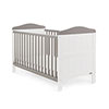 OBABY WHITBY COT BED - WHITE with TAUPE GREY (FREE FOAM MATTRESS)