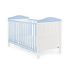 OBABY WHITBY COT BED - WHITE with BONBON BLUE (FREE FOAM MATTRESS)