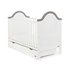 B IS FOR BEAR COT BED AND UNDER DRAWER - WHITE with TAUPE GREY (FREE SPRUNG MATTRESS)