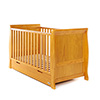 STAMFORD SLEIGH COT BED - COUNTRY PINE (FREE SPRUNG MATTRESS)