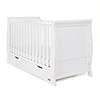 STAMFORD CLASSIC SLEIGH COT BED - WHITE (FREE SPRUNG MATTRESS)