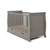 STAMFORD SLEIGH COT BED - TAUPE GREY (FREE SPRUNG MATTRESS)